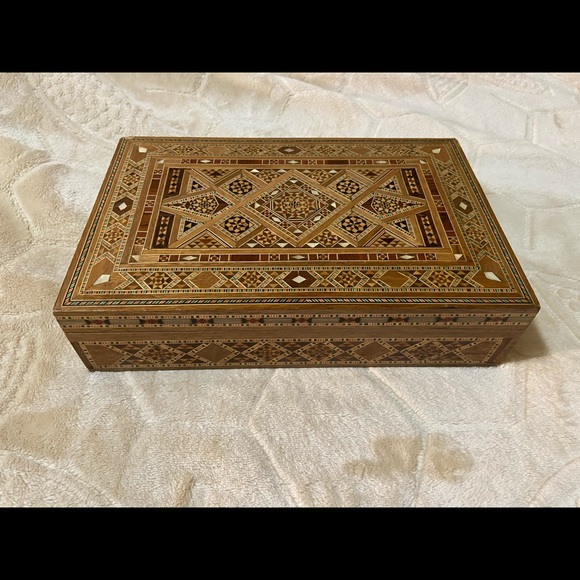 Mosaic wooden jewelry box Moroccan style